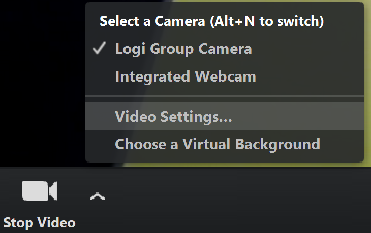Image of Video Settings...